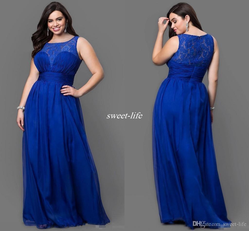 Royal blue sheer cheap plus size bridesmaid dresses lace empire