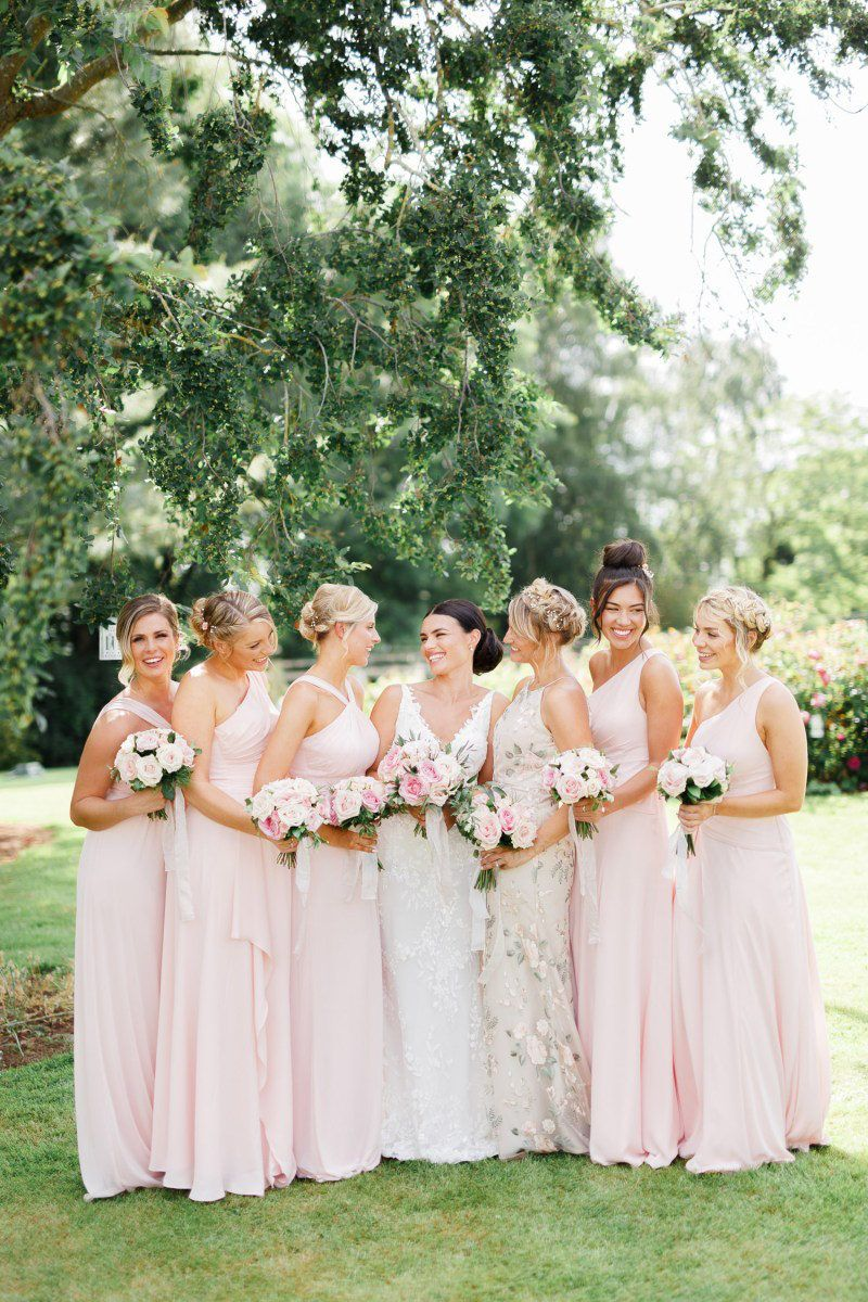 Coddington Vineyard Wedding With English And Samoan Traditions In 2020 Pink Bridesmaid Dresses Blush Bridesmaid Dresses Wedding Photography Bridal Party [ 1200 x 800 Pixel ]