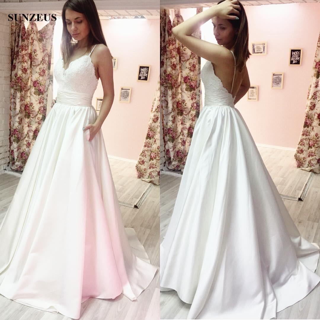 Aline spaghetti straps low back wedding dress satin v