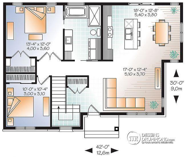 W3138 - Maison économique de style contemporain, à aire ouverte - plan maison  plain pied