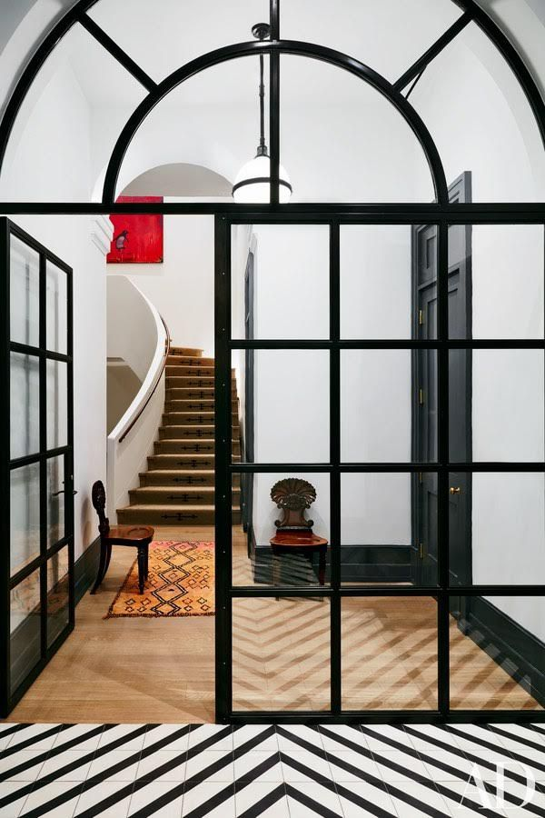 Naomi Watts-NYC Front Entry with Black & White Tiles by Cle; design by Ashe + Leandro