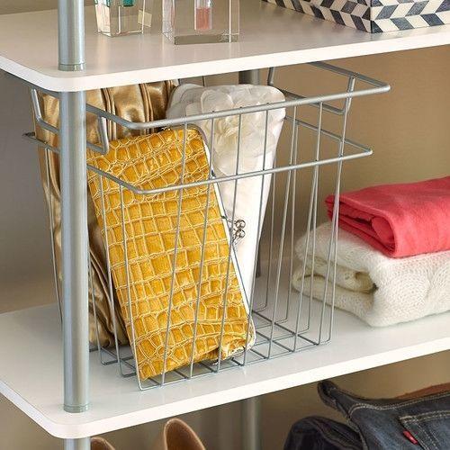 Wire Basket Large Nickel Closet Storage Home Closet Bathroom Organizer Wire  Bin