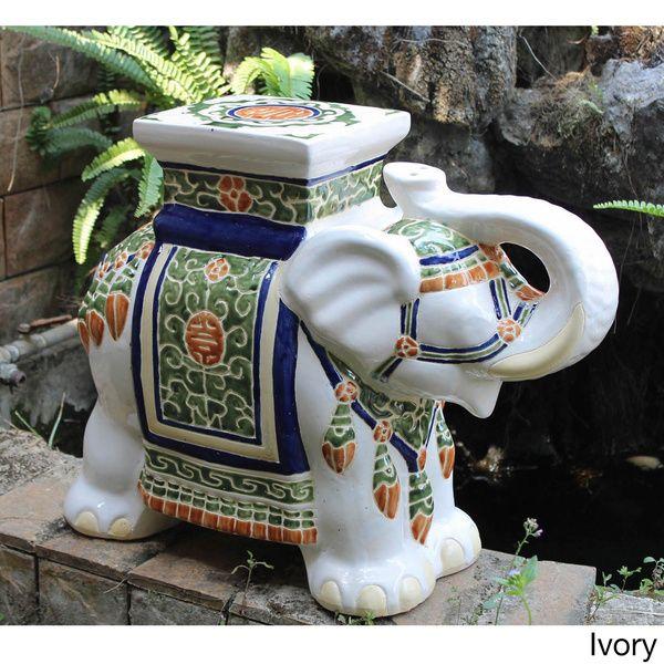 international caravan large porcelain elephant stool brown