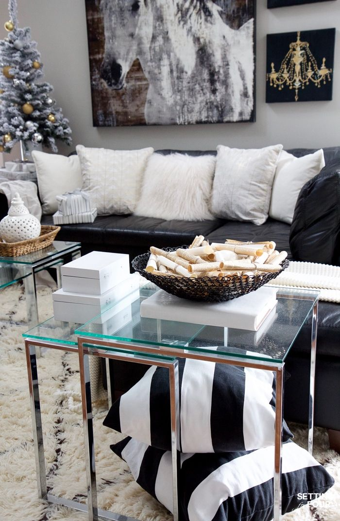 Elegant See my Glam Black White and Gold Family Room Decor Ideas I kept my holiday decor simple this year a mini flocked Christmas tree with gold and silver Top Search - New black white gold bedroom Photos