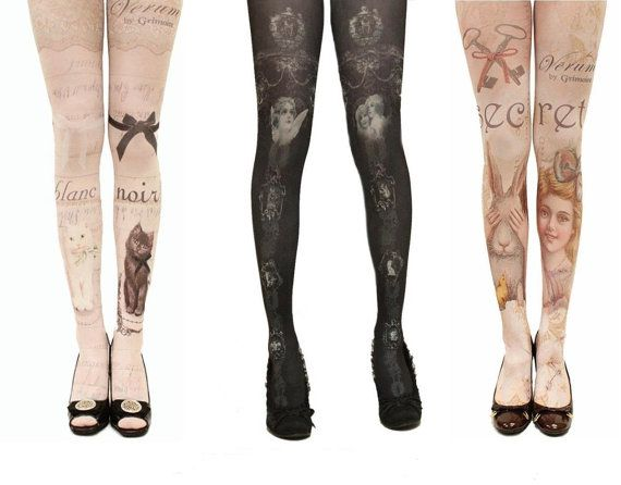 LOVE the ones on the left.   Women tattoo tights pantyhose stockings by Artofbox on Etsy, $9.99
