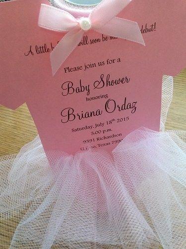 Cute Baby Shower Tutu Onesie Ballerina Pink Tulle Invitation Girl Onesie Baby Shower Invitations Baby Shower Invitation Templates Pink Baby Shower Invitations Tutu invitations for baby shower
