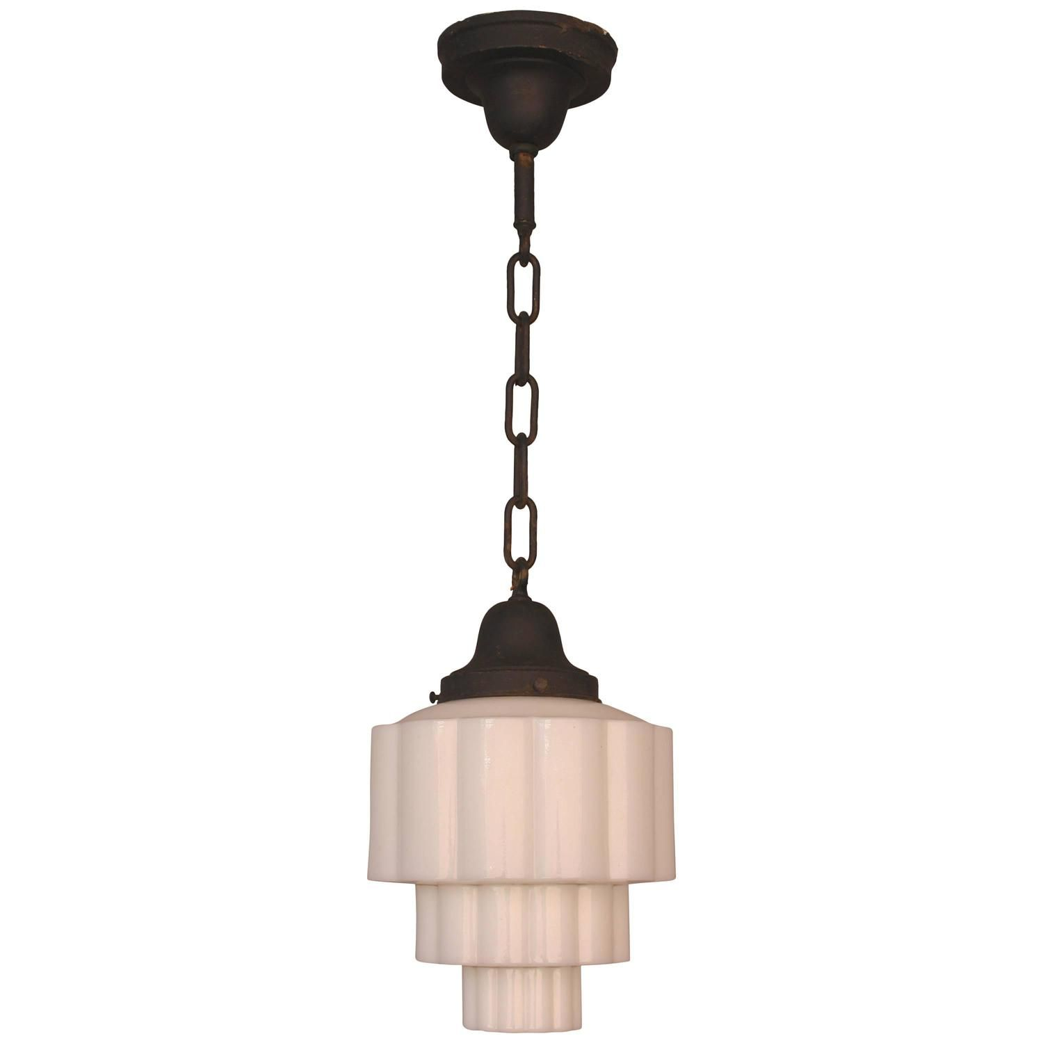 Art Deco Skyscraper Milk Glass Pendant Light, 1930s | See More Antique And  Modern Chandeliers Awesome Design