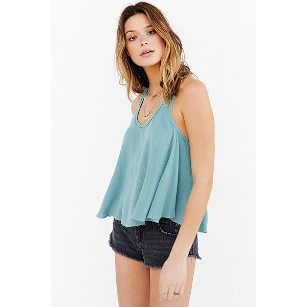 Ecote Raw-Edge Swingy Tank Top ($20) ❤ liked on Polyvore featuring tops, green, scoop neck tank top, scoop neck tank, green top, boho tank and green tank top