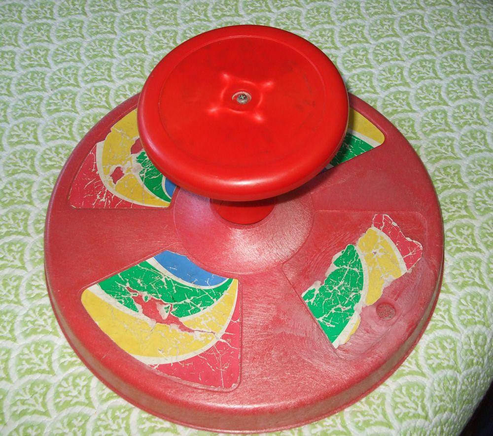 Vintage RARE 1973 Original Playskool Sit N Spin red Super