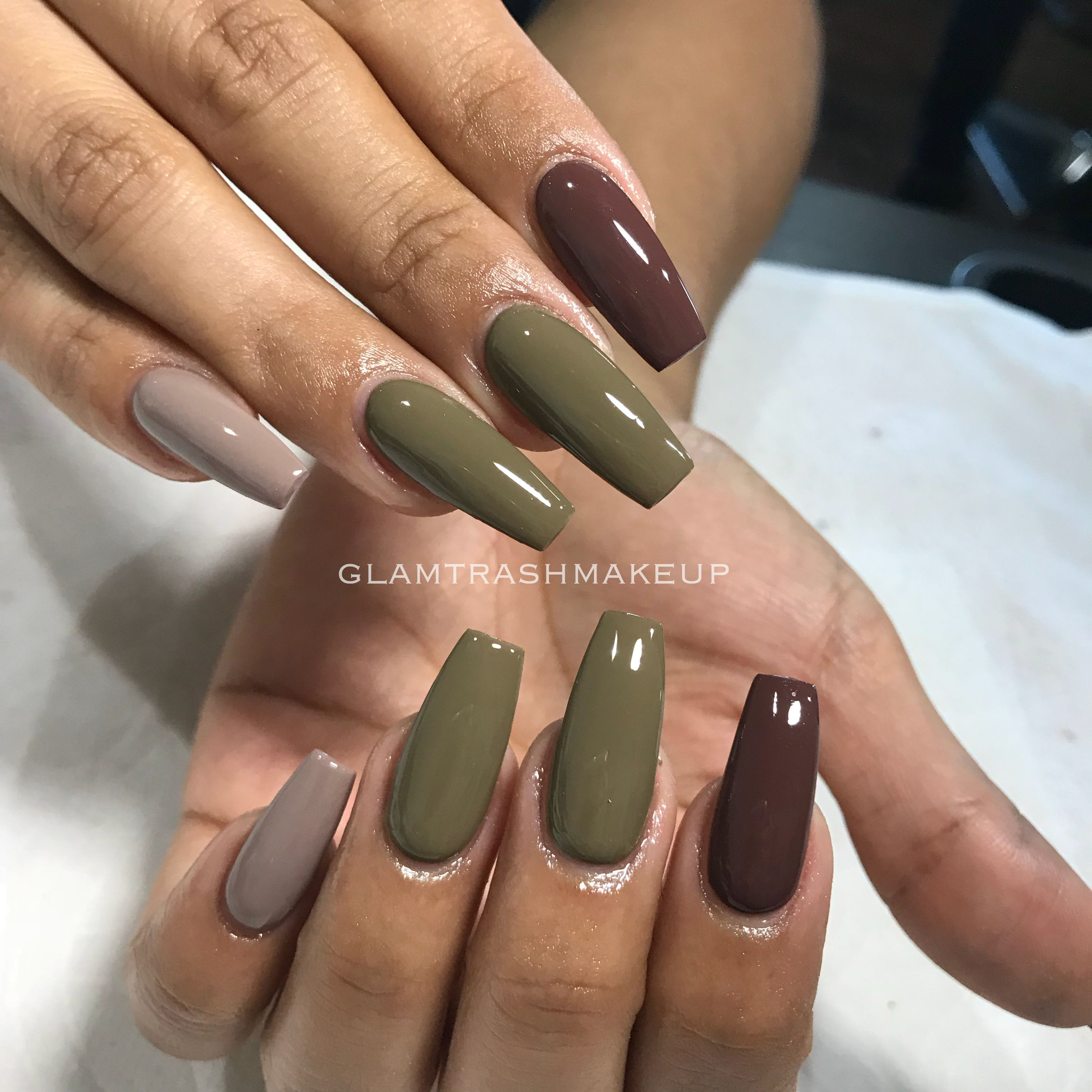 Olive Gray Brown Acrylic Coffin Square Nails Olive Nails Grey Nail Designs Trendy Nail Design