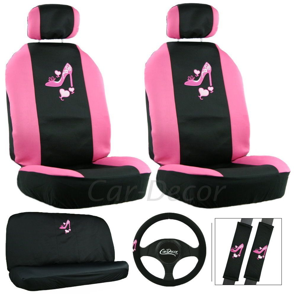 Heart N Heel Seat Cover 11 Pc Set Pink Car Accessories