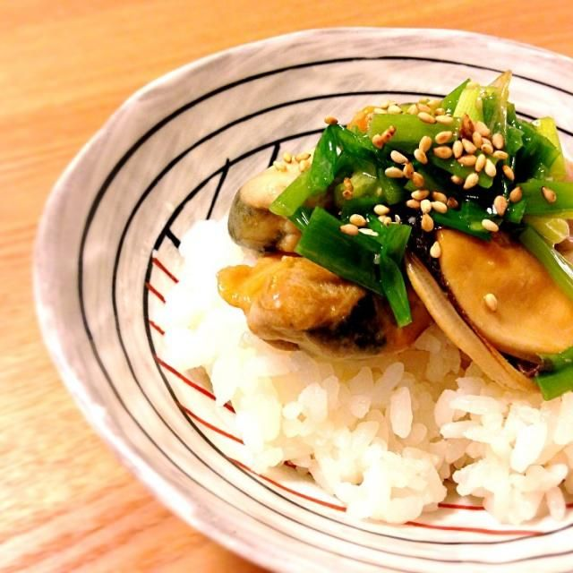 やっぱり、のっけたくなる(・ω・)) - 36件のもぐもぐ - ムール貝の葱塩ニンニク丼 by cmry