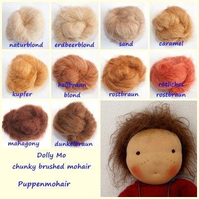 Puppenmohair Dolly Mo Chunky Brushable Mohair Puppen Puppenhaar Handgefertigte Puppen