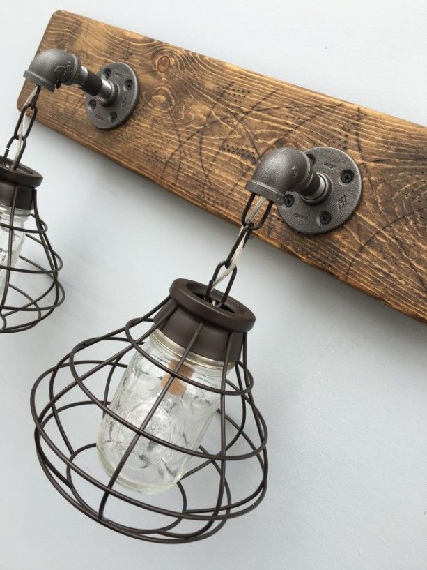 Vanity Light Fixture, 2 Mason Jar Light Fixture with Shade, Bathroom Light, Rustic, Industrial ...