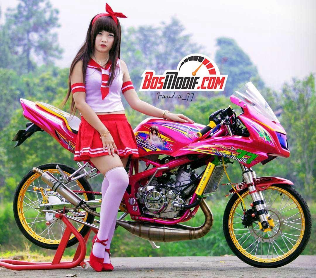 Modifikasi Motor Kawasaki Ninja Dan Cewek Warna Pink Merah Putih