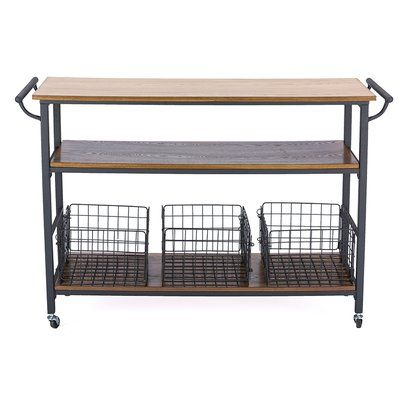 Fresnay Kitchen Island With Wooden Top Allmodern Kitchen Cart Brown Kitchens Wooden Tops
