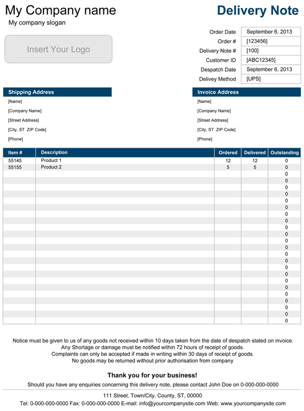 Word Invoice Template With Return Receipt