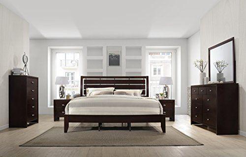 Gloria Brown Cherry Finish Wood Bed Room Set, Queen Bed, Dresser ...