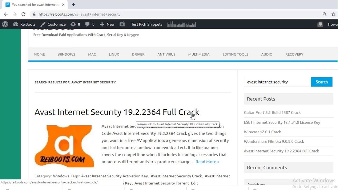 Avast Internet Security 19 2 2364 Full Crack With Free Activation