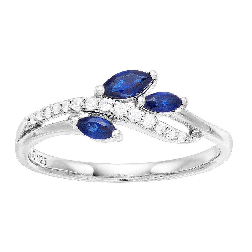 Stackable Birthstone Ring-Created Blue Sapphire Sterling Silver 3 Stone Halo Ring Three Stone Engagement Ring Gemstone Ring