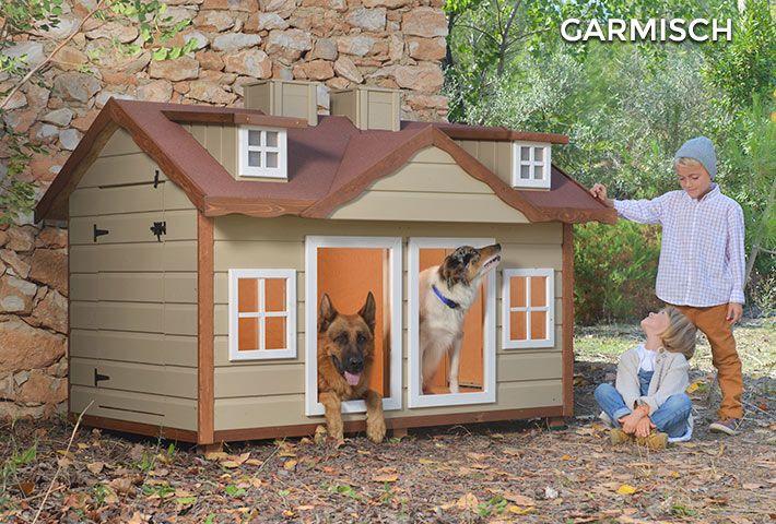 Cuccia per due cani isolata di grandi dimensioni garmisch for Casette in legno per cani grandi
