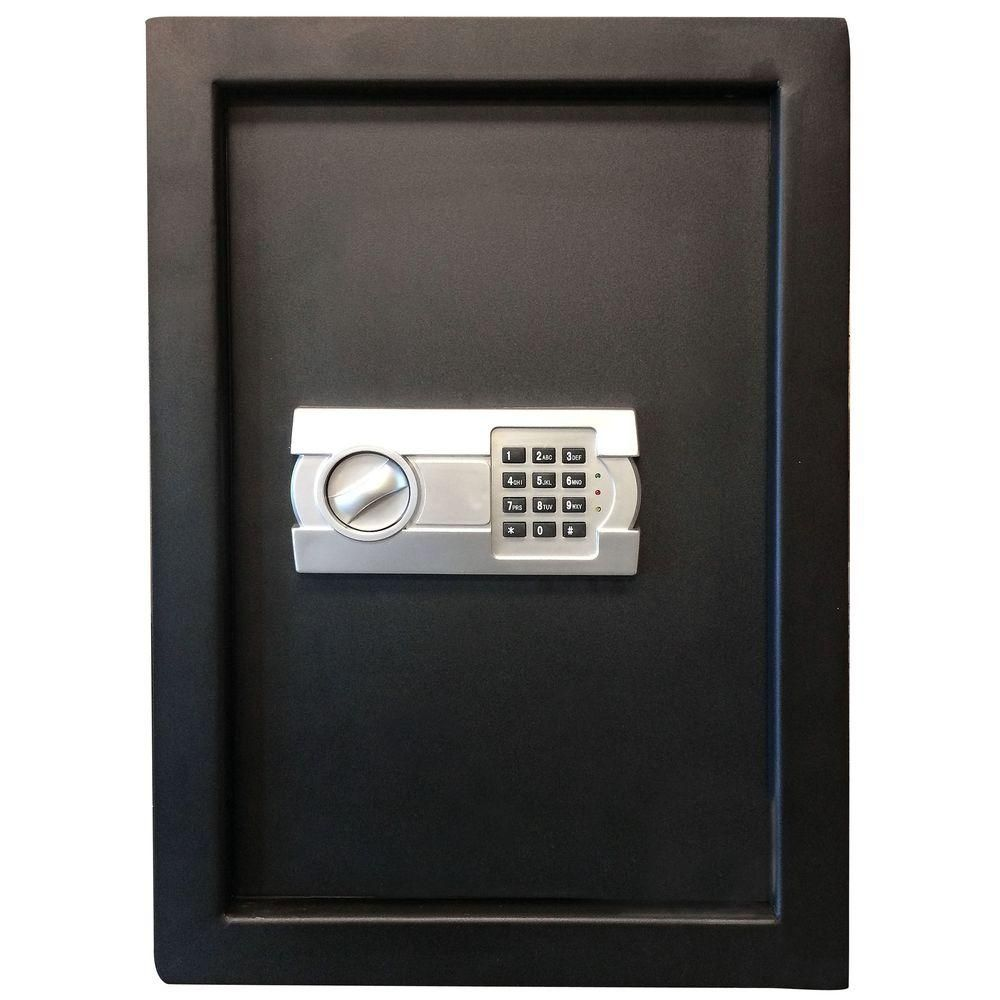 Buffalo 0 58 Cu Ft Wall Safe With Electronic Lock Black 800982 Wall Safe Electronic Lock Wall
