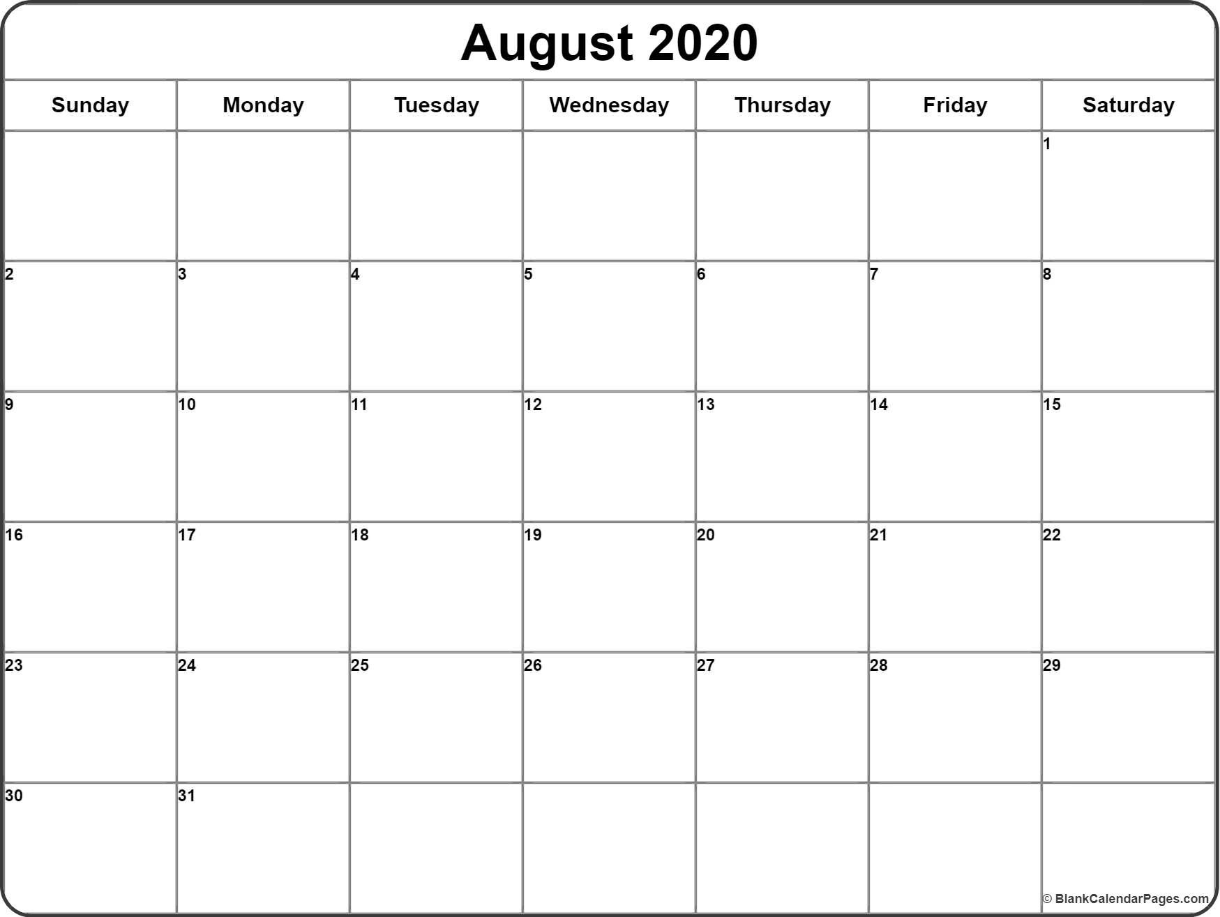 Impressive 2020 Calendar For August In 2020 August Calendar Calendar Printables Monthly Calendar Printable