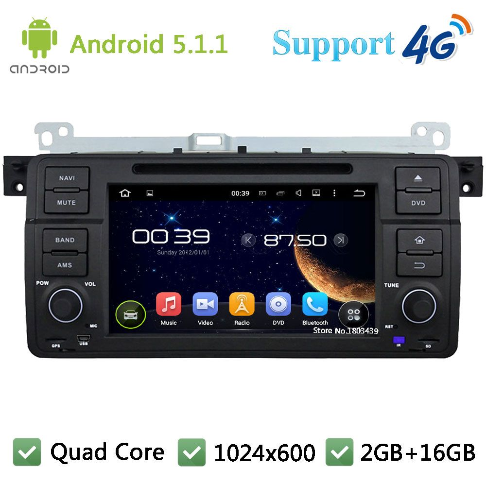 Quad core 1024 600 android 5 1 1 car dvd player radio 3g 4g