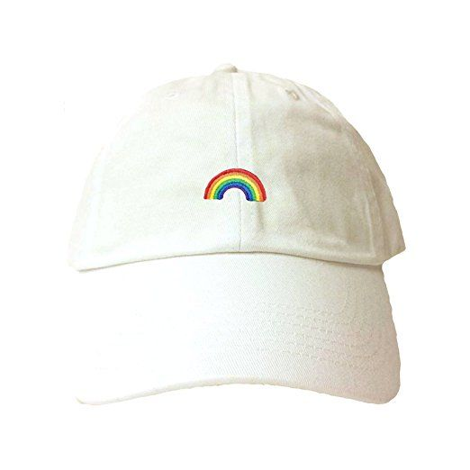 0d72b997a21 Adjustable White Adult Rainbow Embroidered Dad Hat