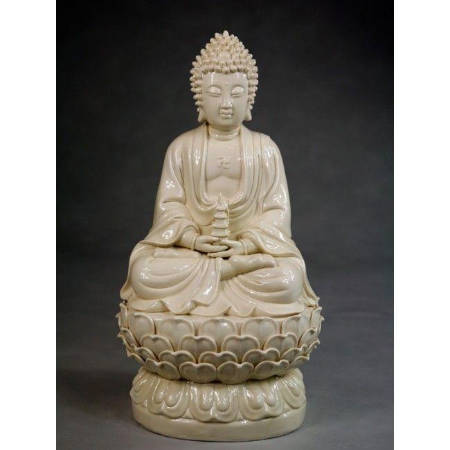 Blanc de Chine Buddha Tathagata Große Porzellanfigur aus Dehua Porzellan Original Chinesische Porzellanfigur | XiShi.de