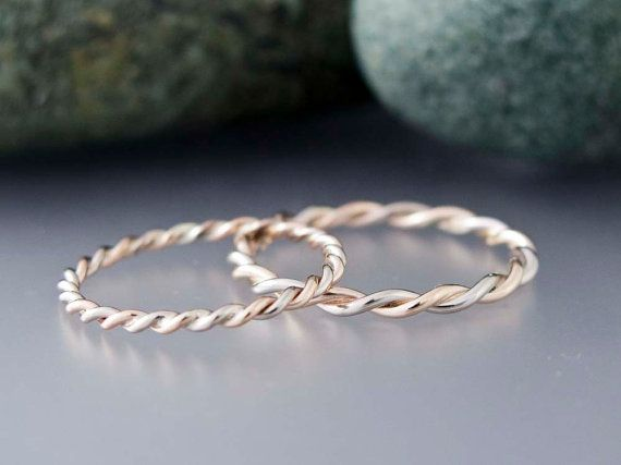 Tiny 1.6mm Twist Ring in Solid 14k Gold White Gold Twist Ring