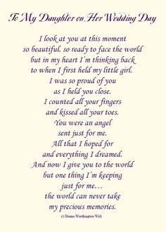 Image Result For Gifts From A Mother To Her Daughter On Her Wedding Day Daughter Wedding Gifts Poem To My Daughter Daughter Poems