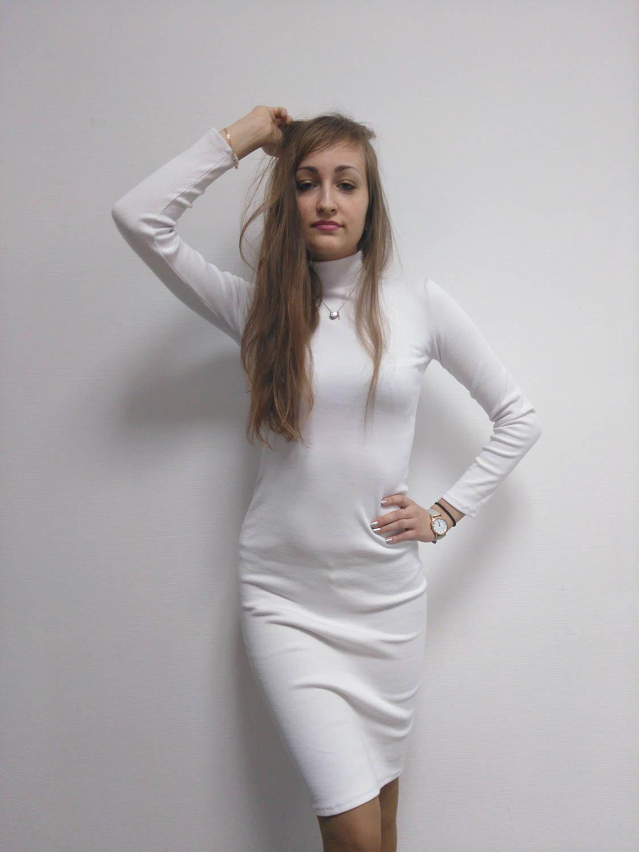 White turtleneck dress sleeveless turtleneck dress fashion