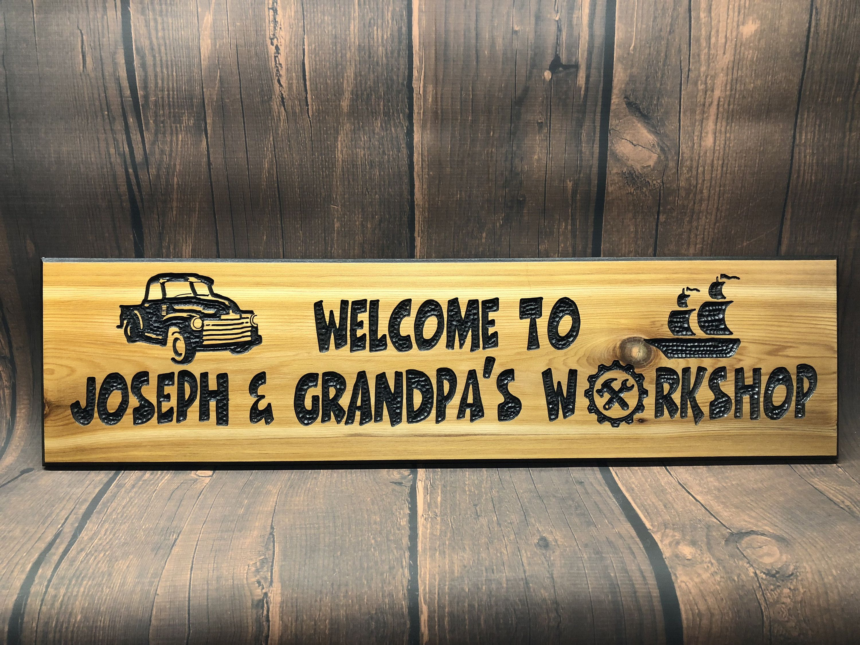 Personalized Man Cave Signs Etsy : Hand carved personalized workshop wood sign name