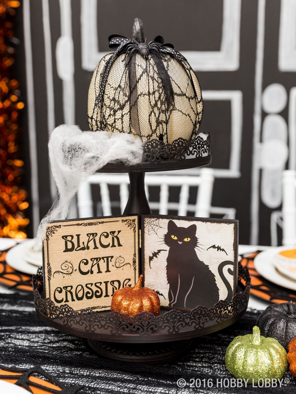 Set the scene for Halloween with a spooky-chic tablescape! Happy - Hobby Lobby Halloween Decorations