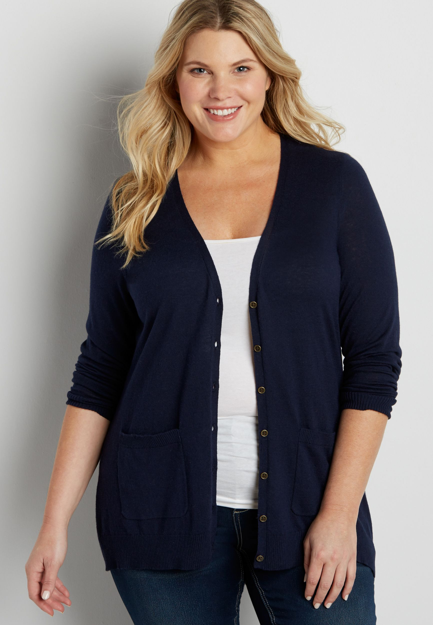 the classic plus size boyfriend cardi (original price, $34.00 ...