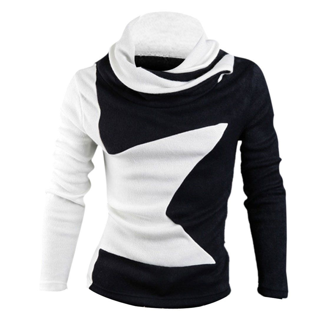 Men Cowl Neck Pullover Star Pattern Color Block Elastic Knit Shirt