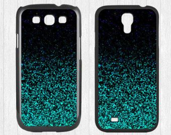 Glitter Samsung Galaxy S3 S4 Case,Mint Sparkle Glitter Galaxy S3 S4 Hard Rubber Case,cover skin Case for Galaxy S3 S4 -Printed Glitter Image