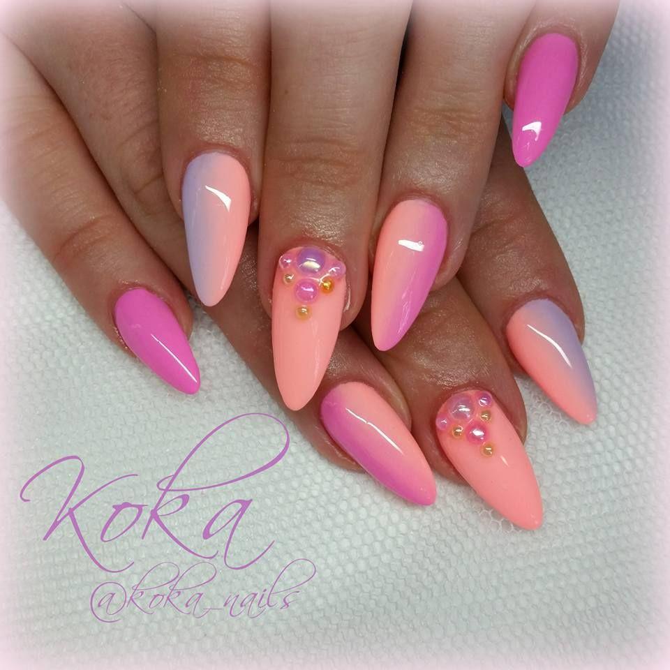Inspirierend Fingernägel Motive Dekoration Von Amazing Nail Art #neon4life. Runde Spitze Nägelnägel