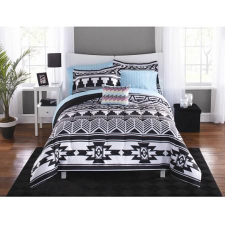 Mainstays Tribal Black And White Bed In A Bag Bedding Set Walmart Com White Bed Set Black White Bedding Bedding Set