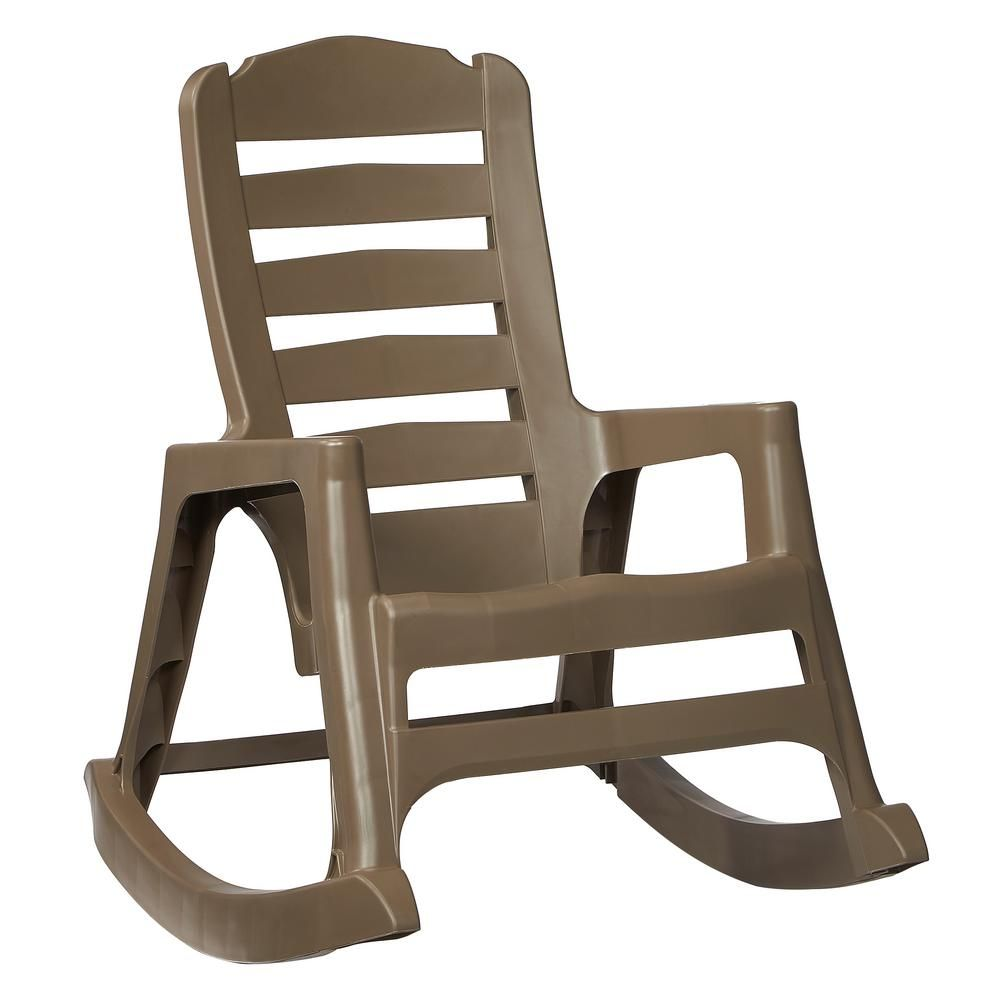 Unbranded Big Easy Plastic Outdoor Rocking Chair Mushroom 8080 96 4300 The Home Depot Plastic Rocking Chair Outdoor Rocking Chairs Patio Rocking Chairs