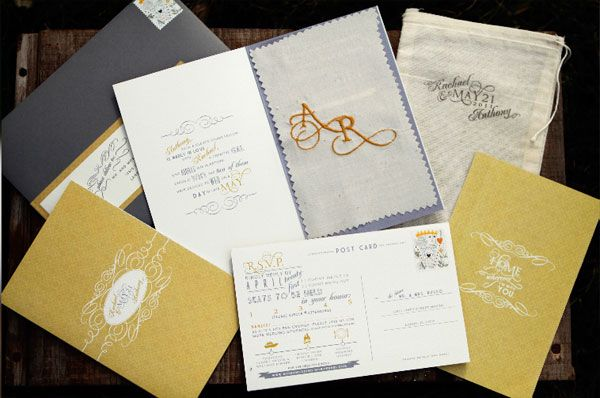 rustic elegant wedding invites. great colors. designer: Jennifer Lane