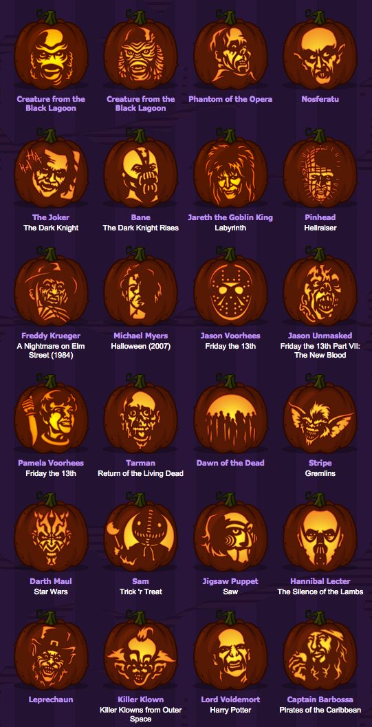 Pumpkins with horror movie monsters #pumkincarvingdesigns
