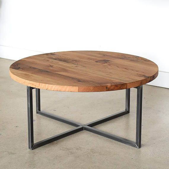 Round Coffee Table / Reclaimed Wood + Metal Base Coffee