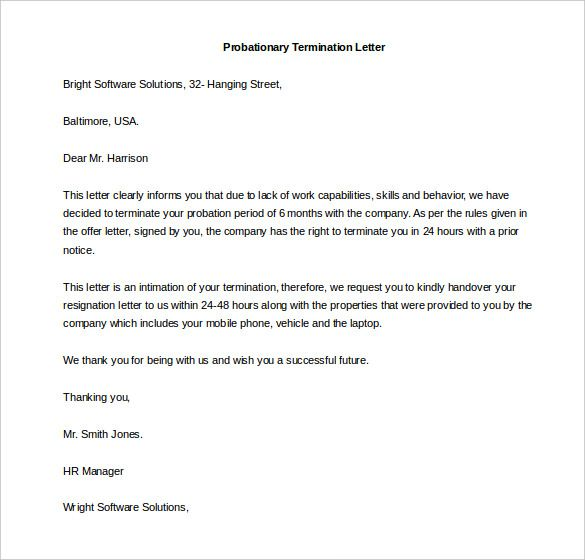free termination letter template word documents download pdf - employee termination letter template free