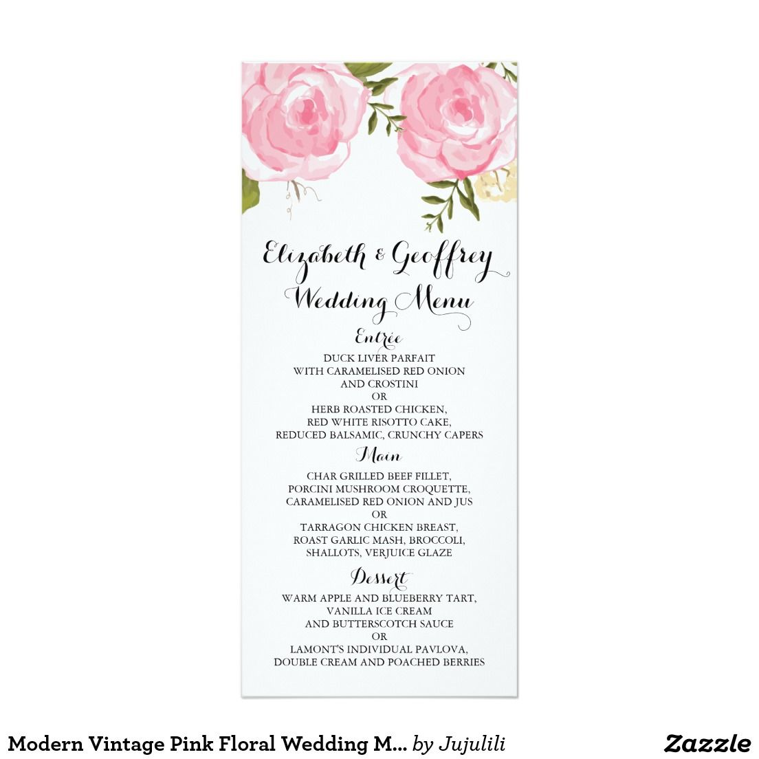 Modern Vintage Pink Floral Wedding Menu Card | Logo | Pinterest ...