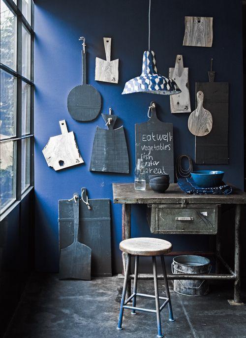 Blauw warm en fris in de keuken.