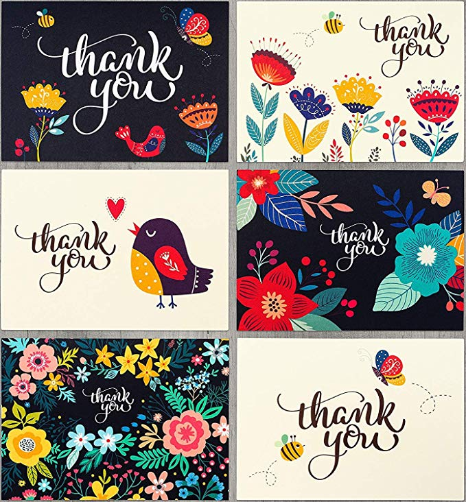 Amazon Com Spark Ink 36 Floral Thank You Cards With Envelopes Elegant Thank You Notes Blank Inside Perfect For Thank You Cards Note Cards Gifts For Office