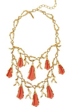 Oscar de la Renta Gold-plated brass and resin necklace | THE OUTNET