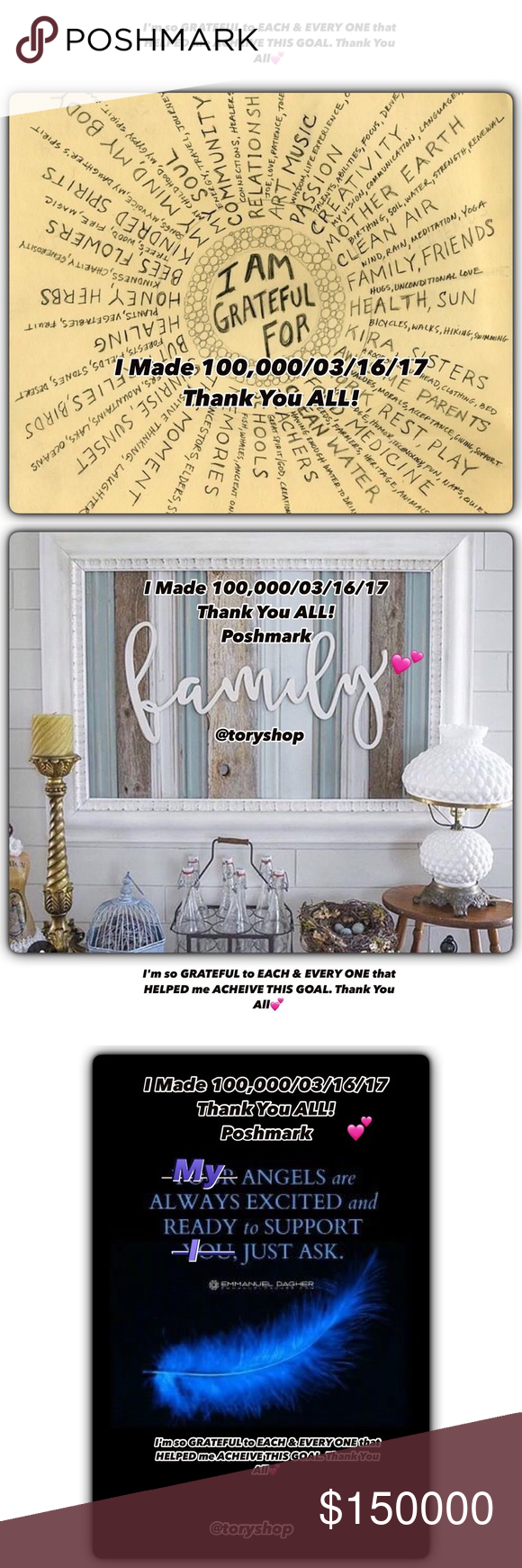 💕I would like to say Thank You from my heart❤️ ! 💕Thank You so much, each of you that liked/shared/& then followed me! You each helped me reach a goal that actually brings me to tears, of appreciation & joy! Because without all of you! I could't have accomplished this landmark number of folliwers! This last year & this year have held some events that set me back, & through the LOVE & ENCOURAGEMENT of my Poshmark Family, I continued to go forward, & reach this very important goal! Now let's…